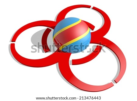 Democratic Republic of the Congo flag textured sphere in the center of biohazard alert 3d red sign. suitable for ebola and others pandemic cases - stock photo