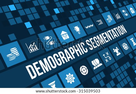 Demographic segmentation concept image with business icons and copyspace. - stock photo