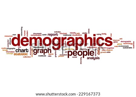 Demographics word cloud concept - stock photo