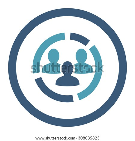 Demography diagram glyph icon. This rounded flat symbol is drawn with cyan and blue colors on a white background. - stock photo
