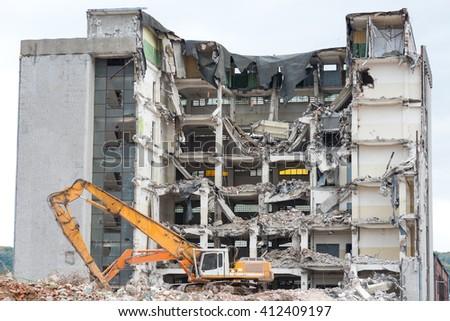 demolition building - stock photo