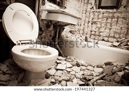 Demolition for Bathroom for new construction - stock photo