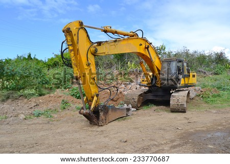demolition machine on site - stock photo