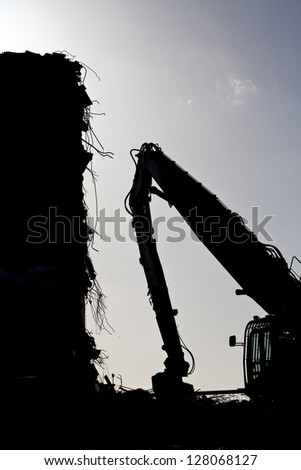 Demolition of a block of flats. From a series of shots - stock photo