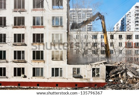 demolition of dilapidated and old apartment building in Moscow. Russia - stock photo