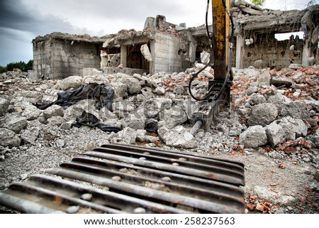 Demolition of Old Derelict Buildings with Jackhammer Drilling Machine - stock photo