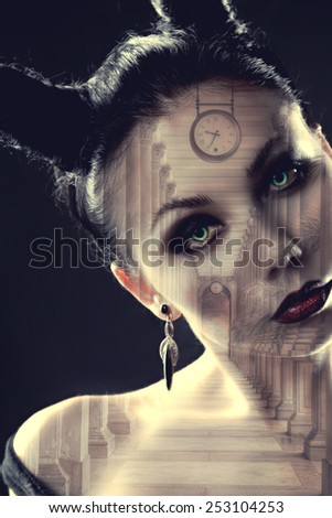 demon girl watches. Mystical image of time. Alchemical processes of aging. Photo with double exposure - stock photo