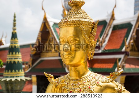 Demon guardian at Wat Phra Kaew of Bangkok - stock photo