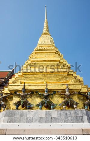 Demon guardians in Wat Phra Kaeo, Bangkok. Wat Phra Kaew is one of the most popular tourists destination in Thailand - stock photo