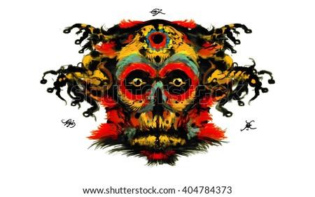 Demon head, Shaman mask. Skull and roots - stock photo
