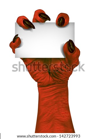 Demon or devil hand holding a blank sign card as a creepy halloween or scary symbol with textured red skin and wrinkled monster fingers isolated on a white background. - stock photo