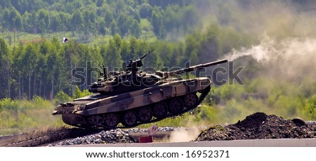 Demonstration of military technic at military exhibition - stock photo