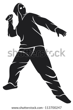 demonstrator (hooligan, protester throws a stone) - stock photo