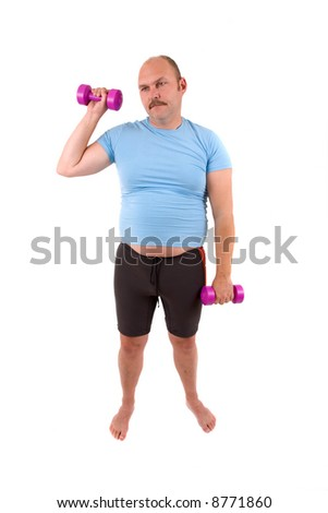 Demotivated sports man with dumbbells and a too tight shirt - stock photo