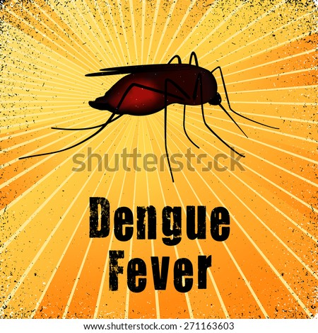 Dengue Fever, blood filled mosquito, graphic illustration with gold ray grunge background. - stock photo