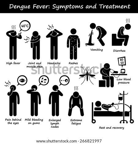 Dengue Fever Symptoms and Treatment Aedes Mosquito Stick Figure Pictogram Icons - stock photo