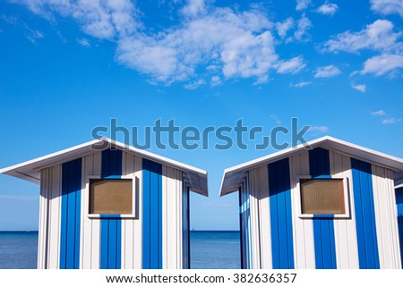 Denia beach blue and white stripes in Mediterranean Spain of Ã??licante - stock photo