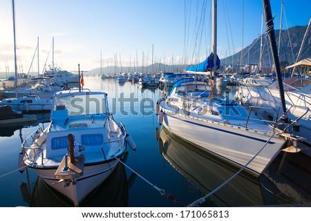 Denia marina boats in alicante Valencia Province of Spain - stock photo