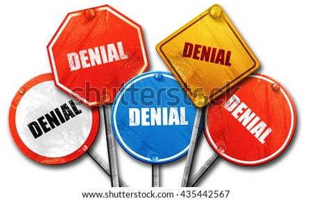 denial, 3D rendering, street signs, 3D rendering, street signs - stock photo