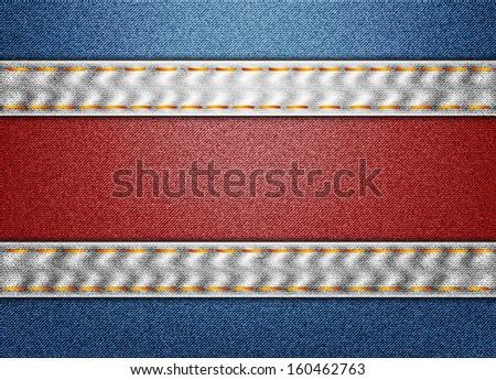 Denim Costa Rica flag - stock photo