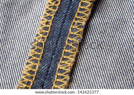 denim fabric inside seam - stock photo