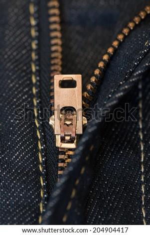 denim fragment with zipper - stock photo