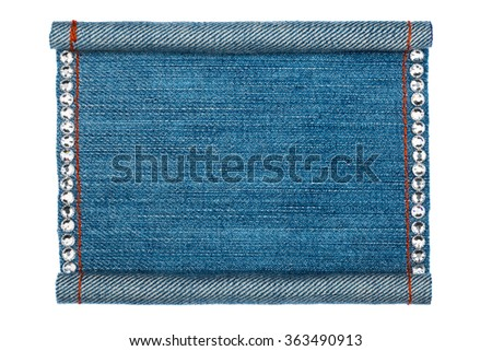 Denim frame folded in the form of manuscripts, on a white background, with space for your text - stock photo