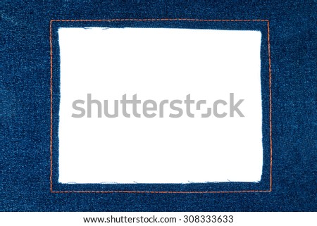 Denim frame with dark jeans isolated on a white background - stock photo