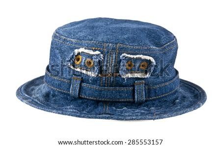 denim hat on white background - stock photo