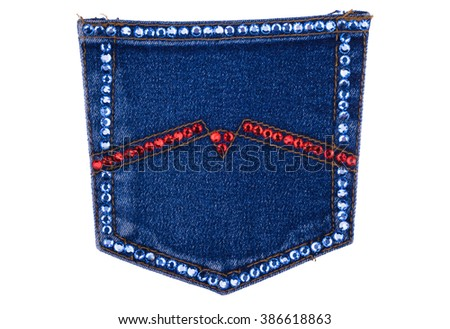 Denim pocket encrusted with rhinestones, isolated on a white background - stock photo