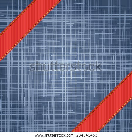 Denim texture with label ribbon. Raster version - stock photo