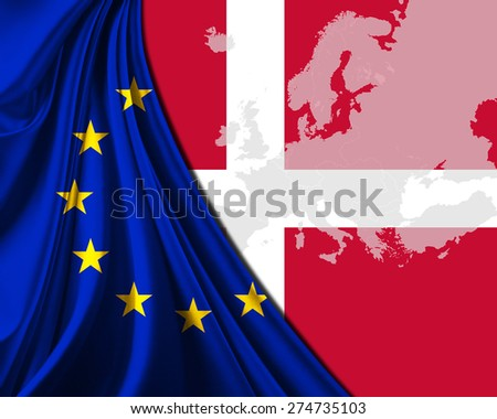 Denmark and European Union Flag with Europe map background - stock photo