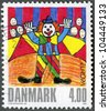DENMARK - CIRCA 2002: A stamp printed in Denmark shows Clown, by una Ostergard, series Winning drawings in childrens stamp design contest, circa 2002 - stock photo