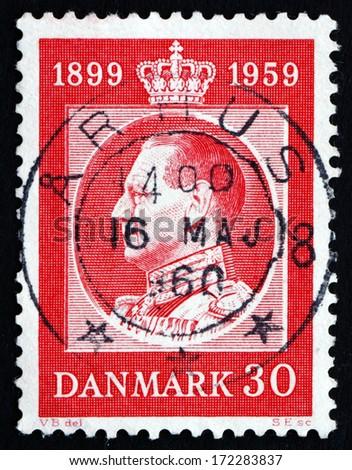 DENMARK - CIRCA 1959: a stamp printed in the Denmark shows King Frederik IX, King of Denmark, circa 1959 - stock photo