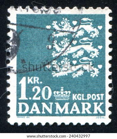 DENMARK - CIRCA 1946: stamp printed by Denmark, shows Coat of Arms, circa 1946 - stock photo