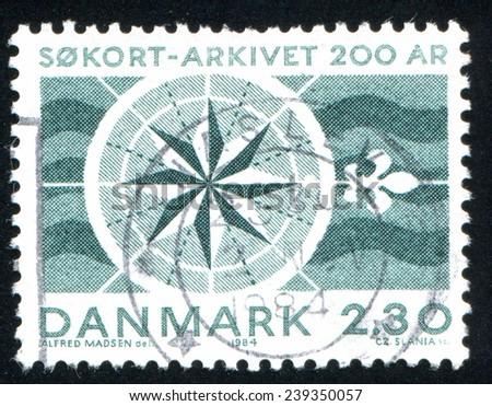 DENMARK - CIRCA 1984: stamp printed by Denmark, shows compass, circa 1984 - stock photo
