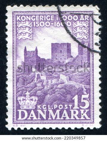 DENMARK - CIRCA 1953: stamp printed by Denmark, shows Hammershus castle ruins, circa 1953 - stock photo