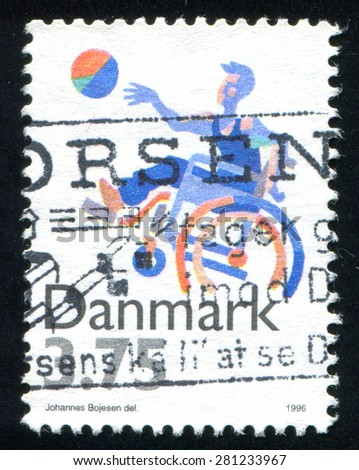DENMARK - CIRCA 1996: stamp printed by Denmark, shows Sports for disabled, circa 1996 - stock photo