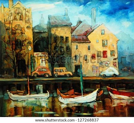 Denmark, Copenhagen, Illustration, painting by oil on canvas - stock photo