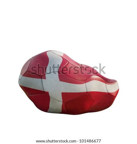 denmark deflated soccer ball isolated on white - stock photo