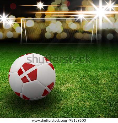 Denmark flag on 3d football for Euro 2012 Group B - stock photo