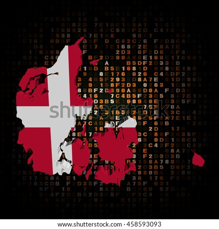 Denmark map flag on hex code 3d illustration - stock photo
