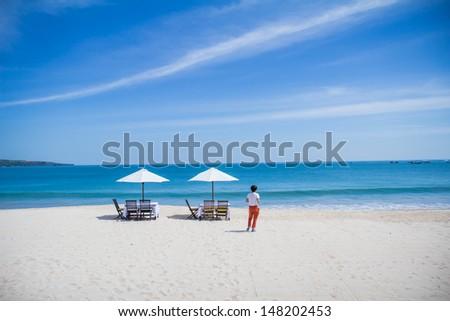 Denpasar Beach of Bali , is beach near air port Denpasar Air port  has seafood famous - stock photo