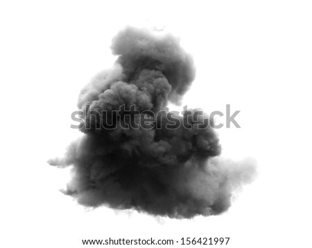 dense black cloud with a blanket of smoke - stock photo