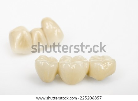 dental bridges, ceramics - stock photo