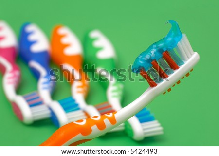 Dental brush with paste - stock photo