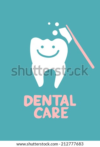 Dental care design concept. Tooth symbol with tooth brush - stock photo