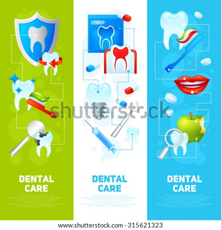 Dental care vertical banner set with medical tools and dentistry instruments isolated  illustration - stock photo