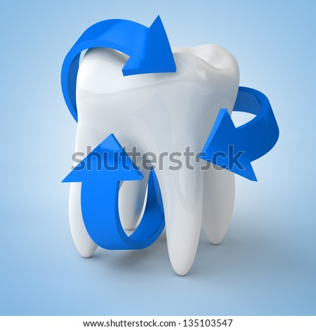Dental care with blue arrows surrounding a tooth - stock photo
