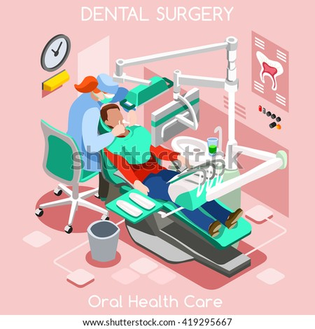 Dental Center Dentist Chair teeth hygiene and whitening oral surgery center dentist and patient. Flat 3D isometric people dentistry dental center clinic room dentist chair illustration. - stock photo